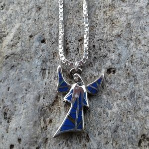 Jewelry - Sterling silver LAPIS inlaid Angel necklace